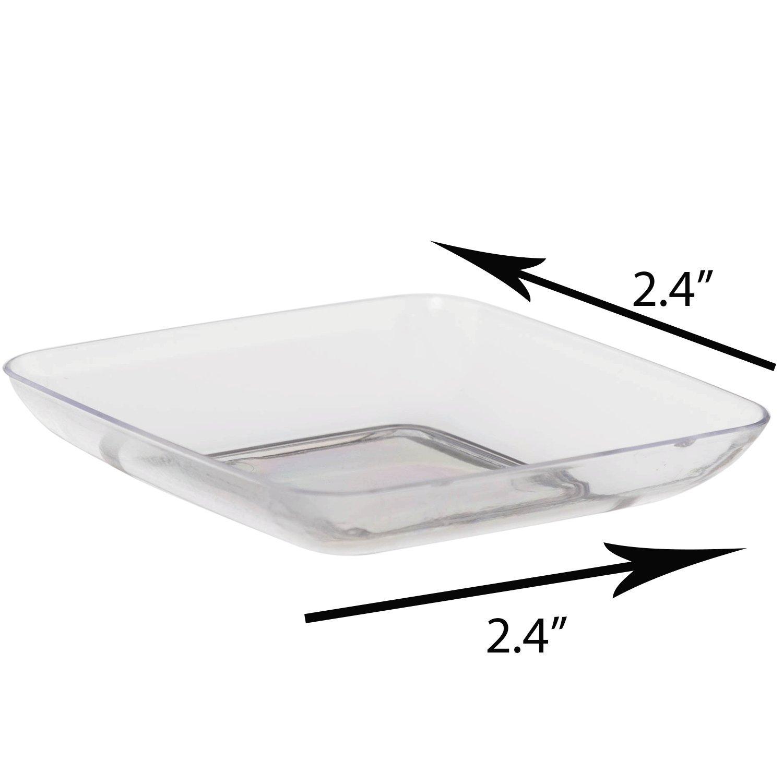 Exquisite Plastic Mini Square Appetizer Plates - 120 Ct Square plastic Dessert Plates - 2.4 Inch. x 2.4 Inch. (Clear) by Exquisite