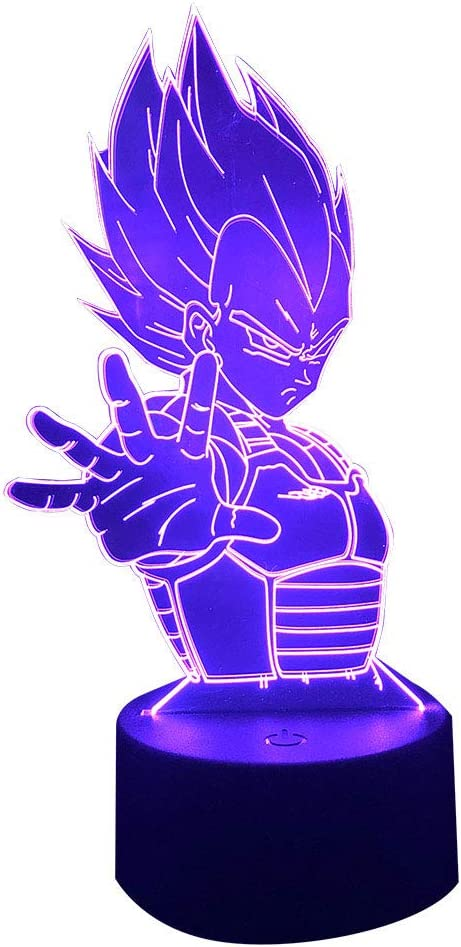DBZ Vegeta Night Light for Kids,7 Colors Changing Lamp with USB Cable for Teens Boys Girls Home Decorations