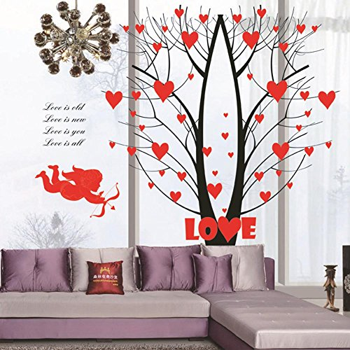 BIBITIME Valentine's Day Cupid Angel Shoot Arrow Tree Branches Overgrown with Red Heart Wall Decal Love Quotes Sticker for Couple Bedroom Girlfriend Gift