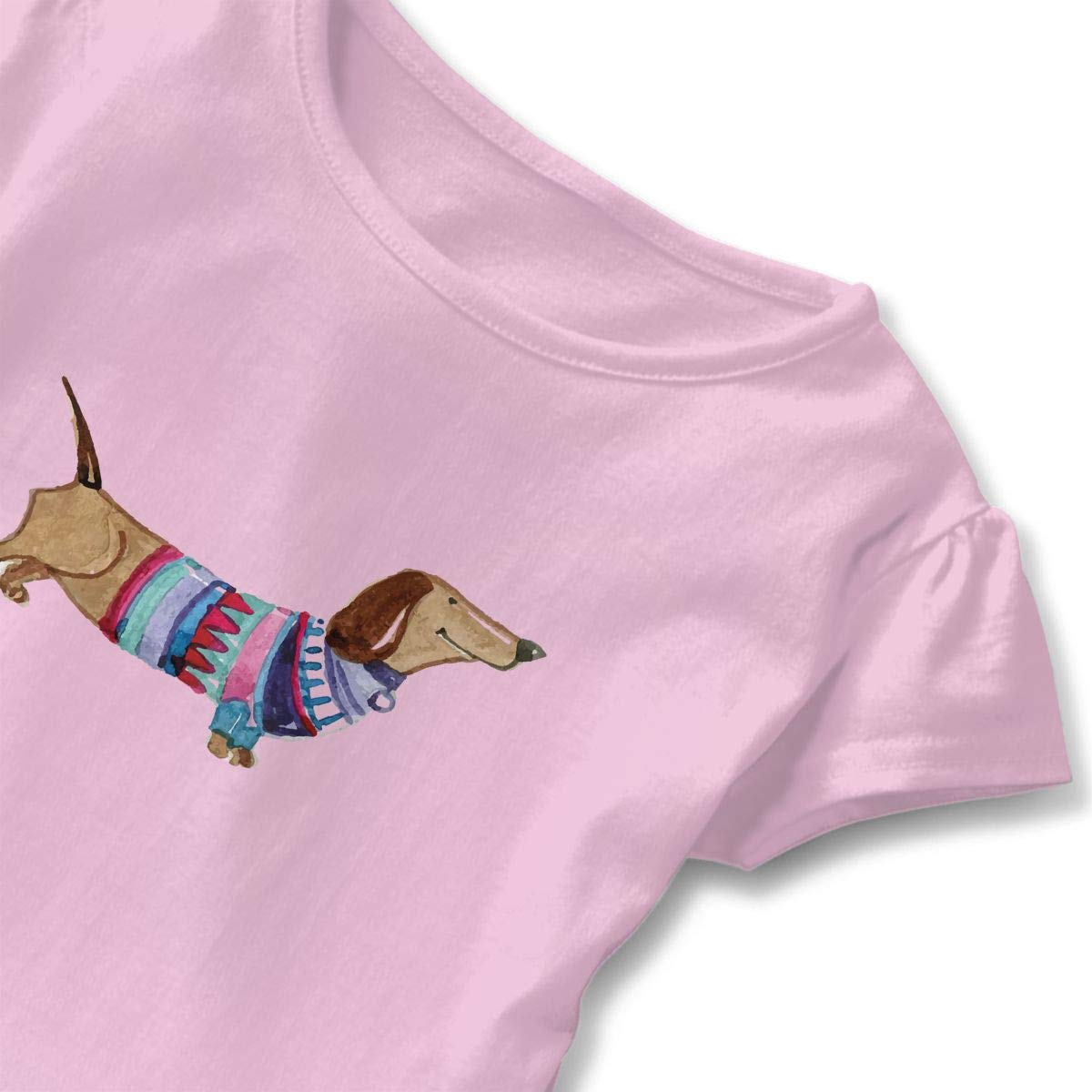 QUZtww Dachshund Square Cute Adorable Printed Patterns Basic Ruffle Tee Shirts with Short Sleeves and O-Neck for Daily Party School Outside Playing Pink