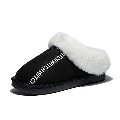 Anbenser Women's House Slipper Memory Foam Warm Shoes Soft Plush Cotton for Colder Winter(Black, 11-12 B(M)) | Slippers