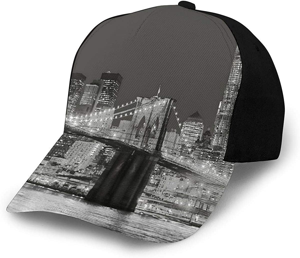 New York Brooklyn Bridge Lightweight Unisex Baseball Caps Adjustable Breathable Sun Hat for Sport Outdoor Black