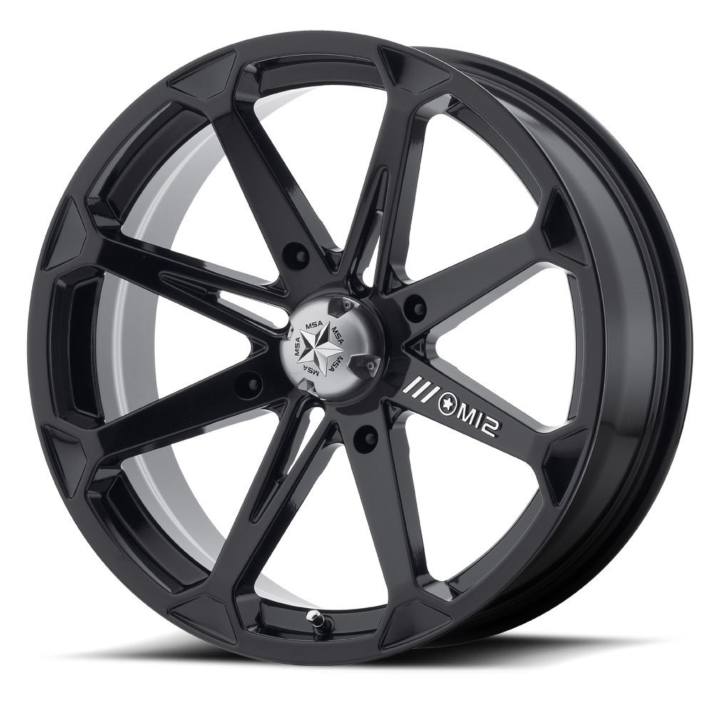 Bundle - 9 Items: MSA Black Diesel 18'' Wheels 33x8 BKT 171 (6ply) Tires [4x156 Bolt Pattern 12mmx1.25 Lug kit] by Powersports Bundle (Image #2)