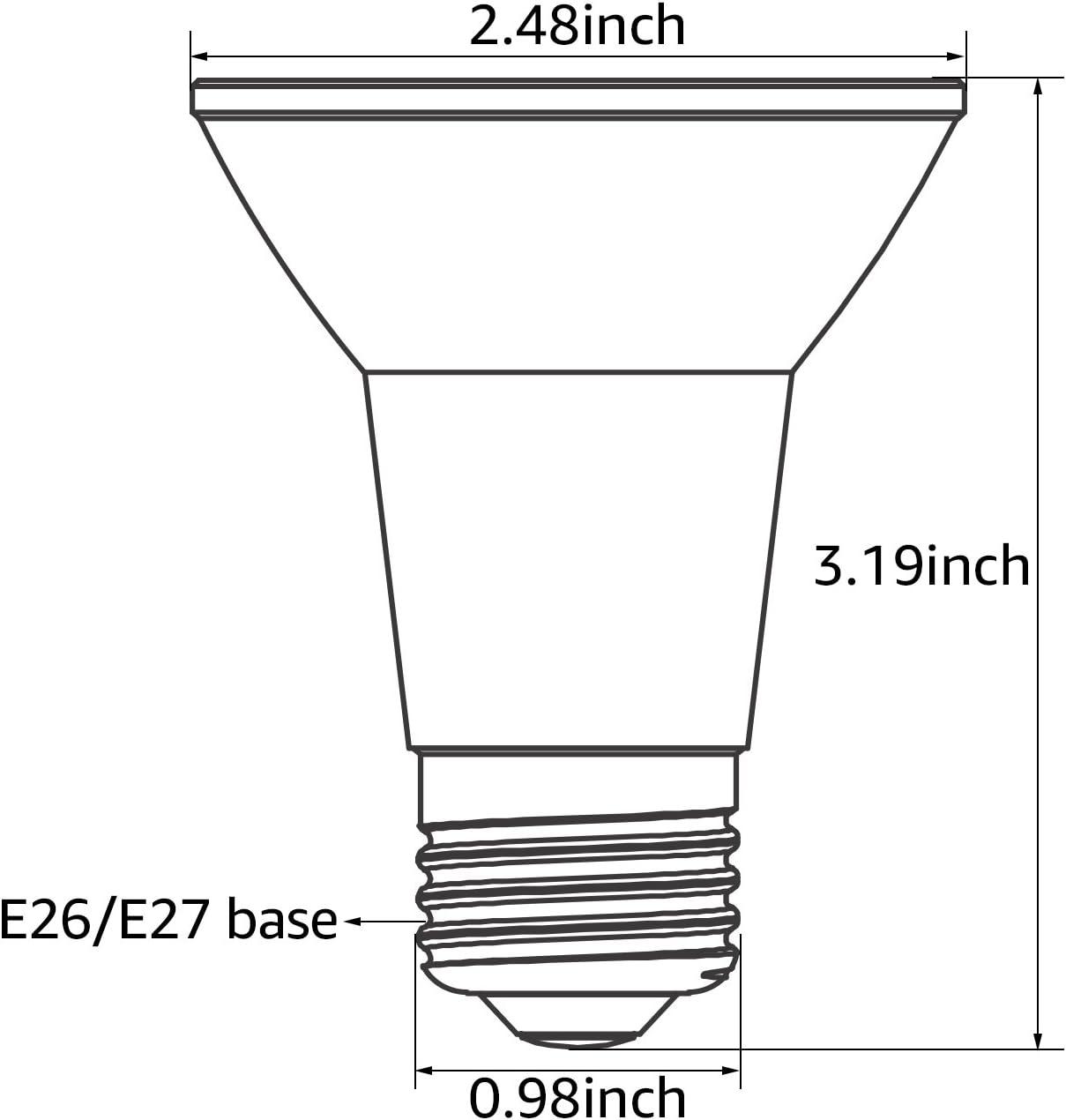 Pack of 6 50W Equivalent UL /& Energy Star Listed Dimmable Spotlight Bulb E26 Standard Base TORCHSTAR PAR20 LED Bulb 8W Track Light Bulb CRI90+ 5000K Daylight