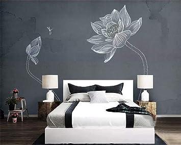 Papel pintado Pared de cemento gris Pintado a mano Flor de loto ...