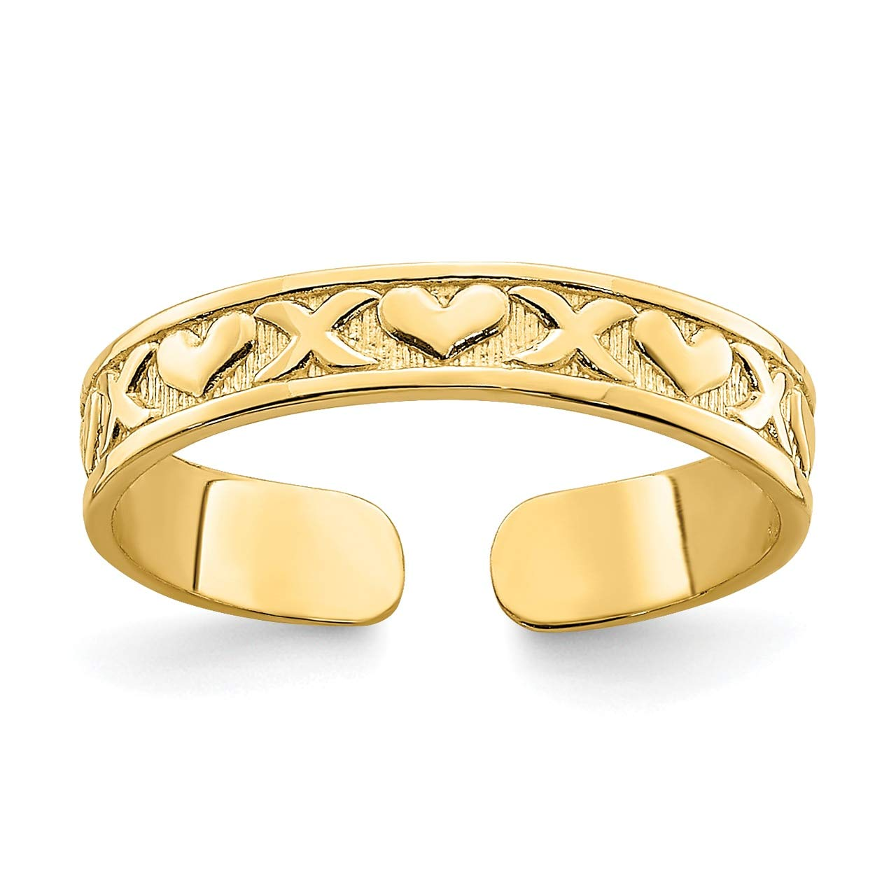 Lex & Lu 14k Yellow Gold Small X and Hearts Adjustable Toe Ring by Lex & Lu