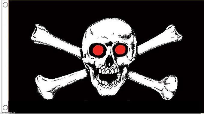 150cm x 90cm Danger Red And Black Flag Skull and Crossbones 5ft x 3ft