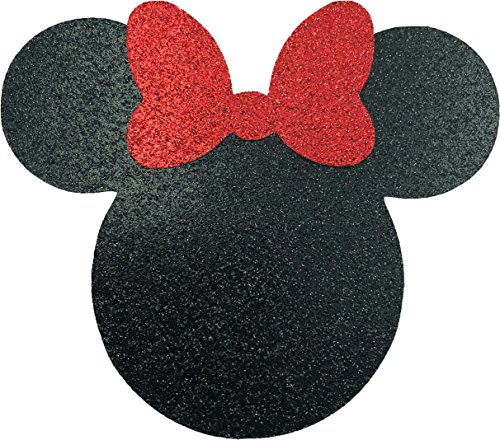 Disney Minnie Mouse Black and Red Glitter with Bow Card Stock Die Cuts 4 Inch Size (Measured Ear to Ear) -