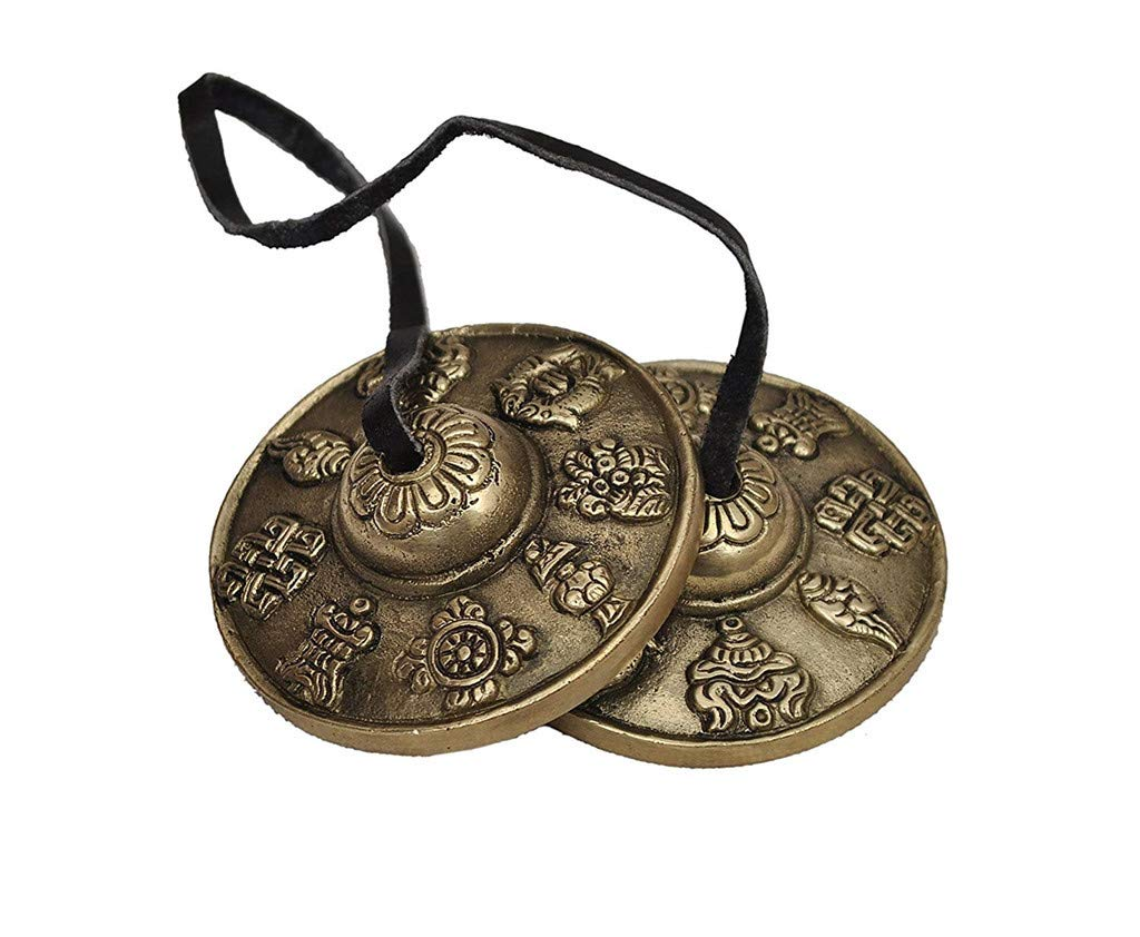 Whryspa Tibetan Tingsha Cymbals - 6.5 cm/2.5in -Tibetan Buddhist Lucky Symbol Embossed Meditation Yoga Bell Chimes,A by Whryspa