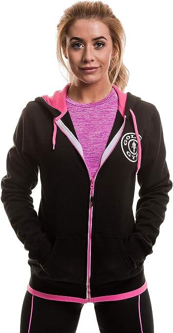 Golds Gym Muscle Joe Ladies Zip Through Premium Hoodie Sudadera Deportiva, Mujer