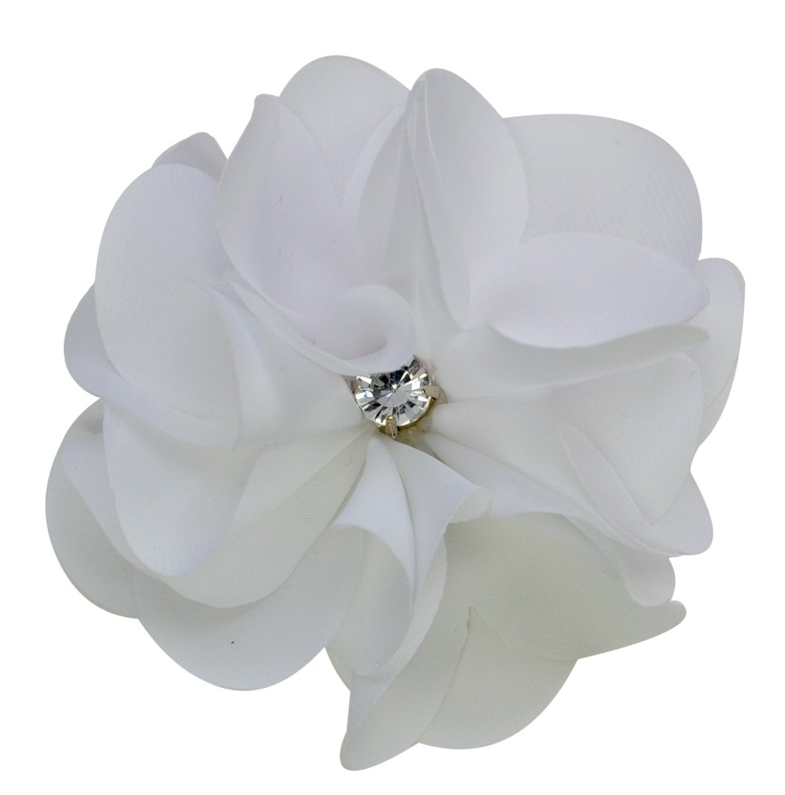 Amazon White Satin Flower Rhinestone Pearl Hair Clip Wedding