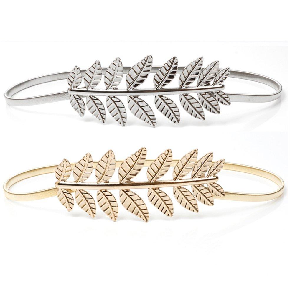 XinDao Waist Belt Metal Leaves Elastic Waist Dress Belt Strap Waistband 2pcs (Golden Silver) Gold+Silver