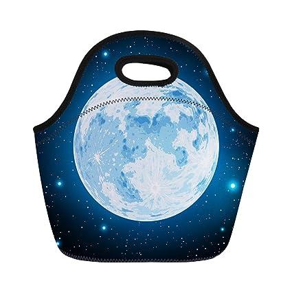 84120cc399f6 Amazon.com: Semtomn Lunch Bags Halloween Blue Full Moon Black ...