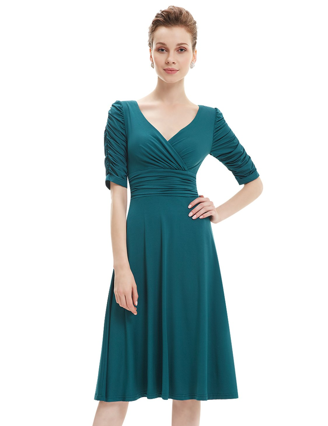 Ever-Pretty Womens Ruched Waist Casual Knee Length Party Dress 6 US Teal