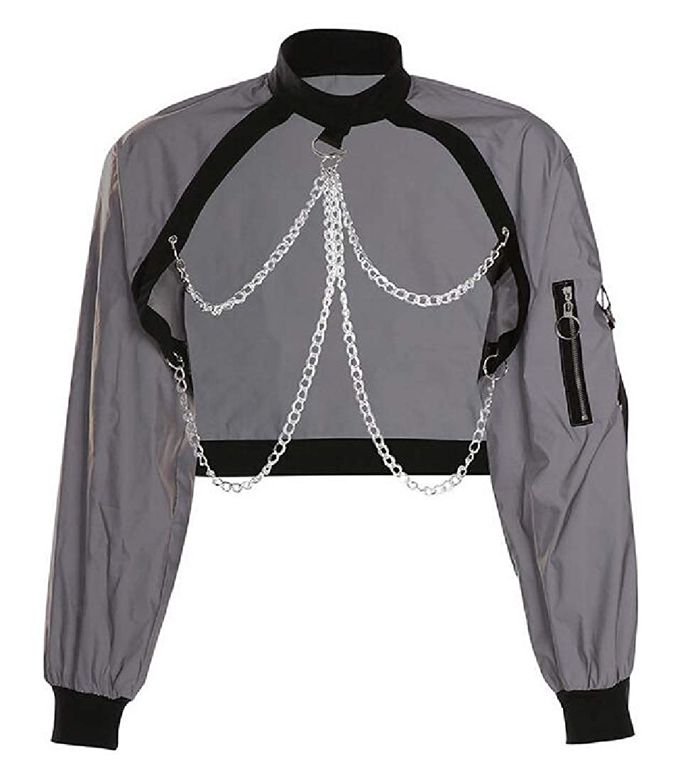 Rrive Womens Loose Fit Long Sleeve Chains Casual Punk Pullover Sweatshirt Crop Top