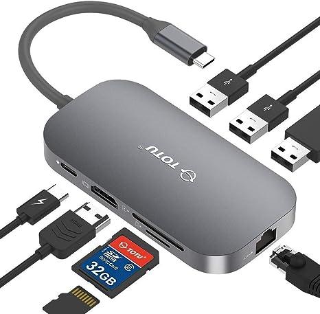 8-in-1 USB C Hub HDMI 4K+USB 3.0+Type C Data Transmit//Charging+TF//SD Card Reader