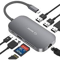 USB C Hub, TOTU 9-In-1 Type C Hub with Ethernet Port, 4K USB C to HDMI, 2 USB 3.0 Ports, 1 USB 2.0 Port, SD/TF Card…