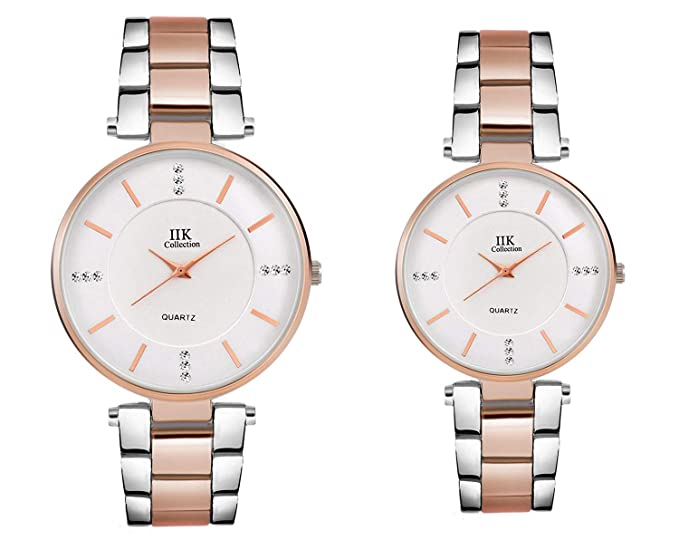 IIK COLLECTION Watches Analog for Couple Silver Dial Women's & Men's Quartz  Watch(IIK-033M-1033W)