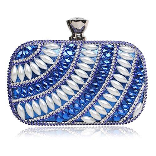Bolso de noche de señora Nightclub bolso de embrague de diamantes de lujo de las mujeres (Color : Silver) Blue