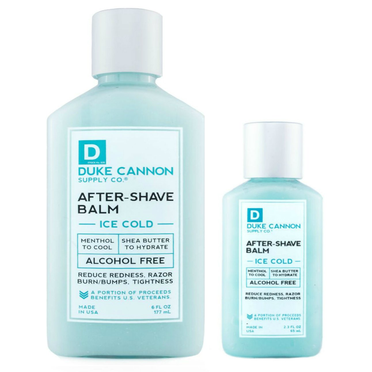 Duke Cannon Ice Cold After-Shave Balm Bundle, 2.3oz and 6oz / Reduces Redness, Razor Burn, Bumps, Alcohol-Free