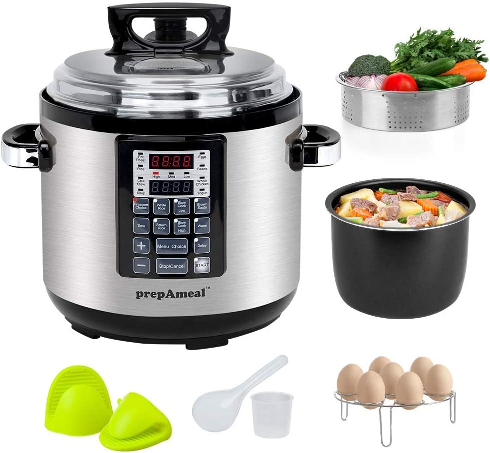 prepAmeal 6QT 8-IN-1 ( 3 Speeds Options ) Pressure Cooker with Accessories Set, Multi-Use Programmable Instant Cooker Pressure Pot with 16 Smart Programs, Slow Cooker, Rice Cooker, Steamer, Sauté, Yogurt Maker, Warmer, Hotpot