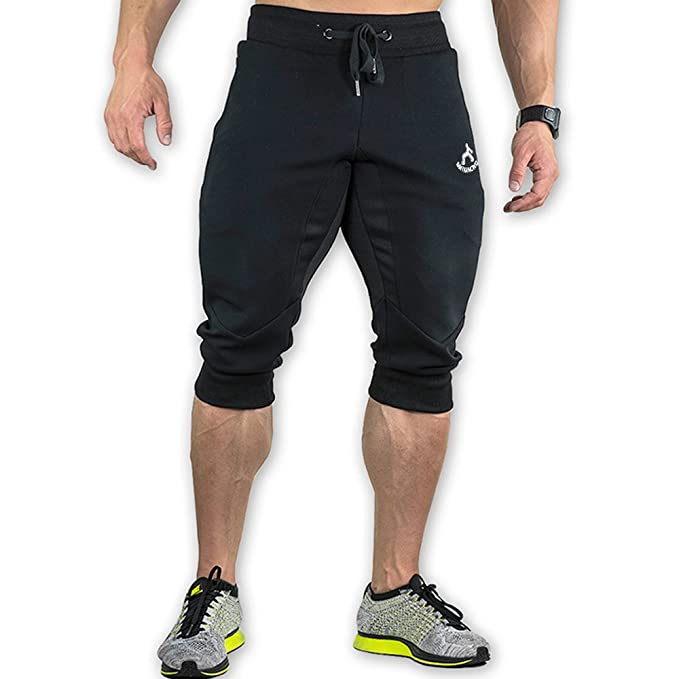 65ced66b990d MAIKANONG Men s 3 4 Training Jogger Pants Sweatpants Cotton Tapered  Athletic Gym Fitness Black