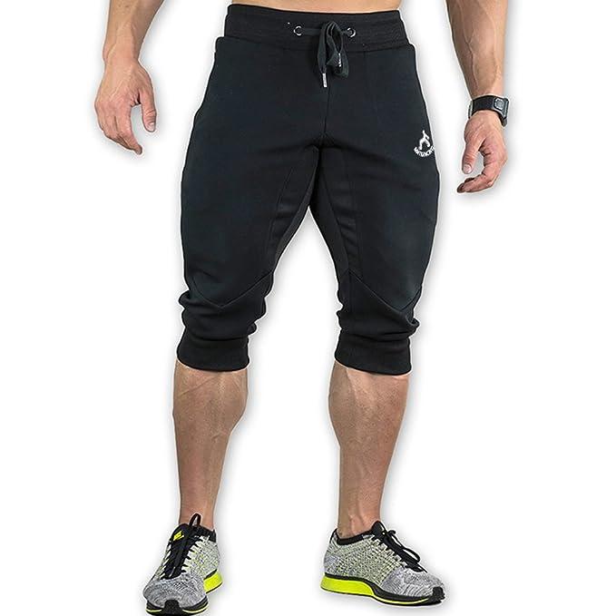 65ced66b990d MAIKANONG Men s 3 4 Training Jogger Pants Sweatpants Cotton Tapered  Athletic Gym Fitness Black