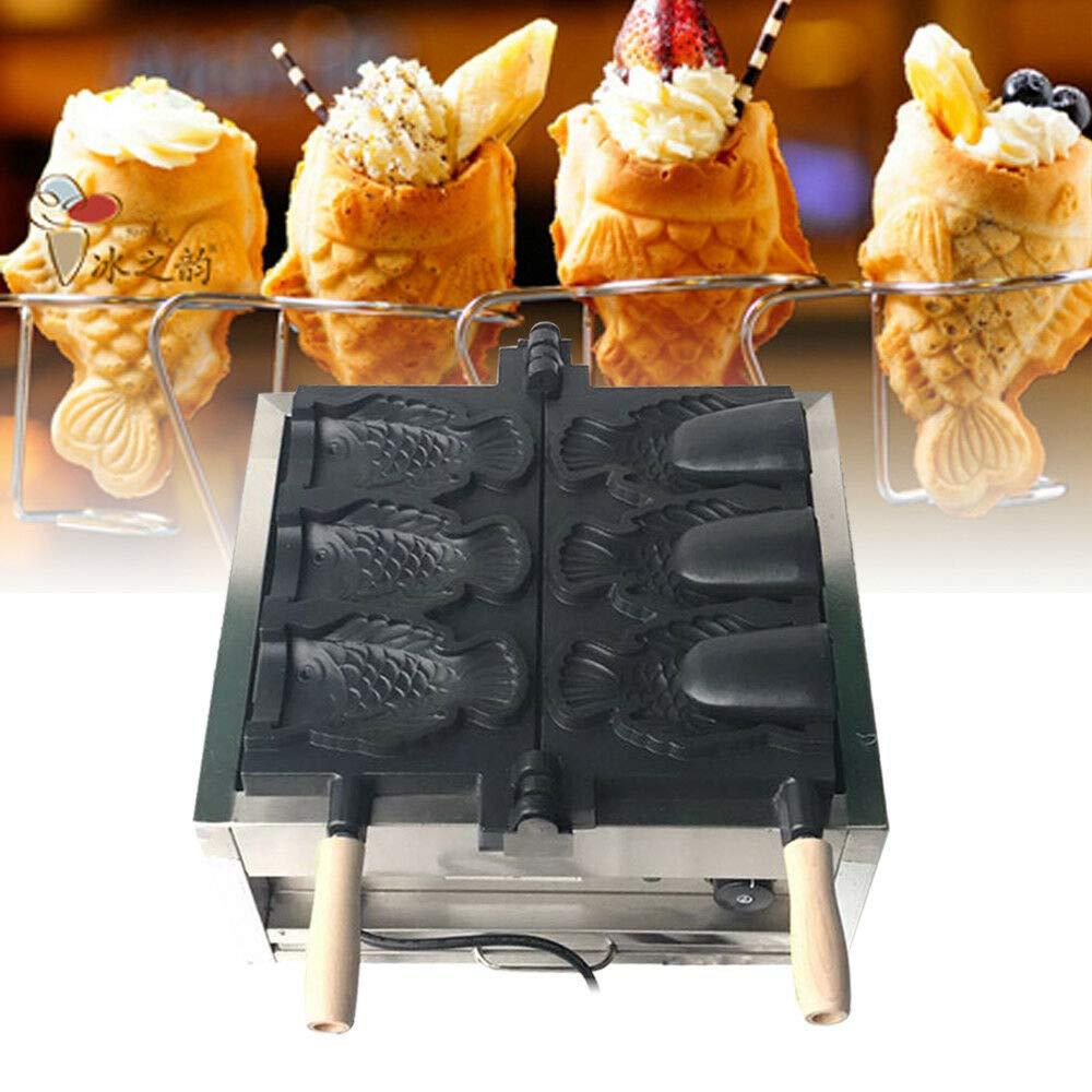 US Warehouse Fish Shaped Waffle Machine,110V Waffle Maker Taiyaki Maker 3PCS Commercial Nonstick Electric Fish Waffle Ice Cream Makers Waffle Irons Machine