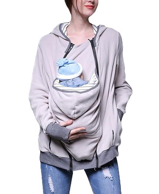 Bebé Correa Encapuchado Invierno embarazadas Las mujeres Chaqueta / chaqueta Ocio Polar polar