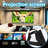 TOPmountain Foldable 16:9 HD Display 84 inches Projector Screen Fiber Canvas Projection Curtain Outdoor Courtyards Home Cinema 105×186cm White Background + Black Edge