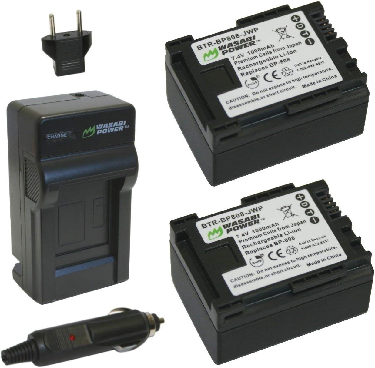 HF M30 2-Pack HF G20 HF M300 HF M41 HF M40 FS40 and Charger for Canon FS21 BP-809 Battery HF M31 VIXIA HF G10 BP-808 FS400 HF M32 FS200 FS22 and More FS31 FS300 Wasabi Power BP-807