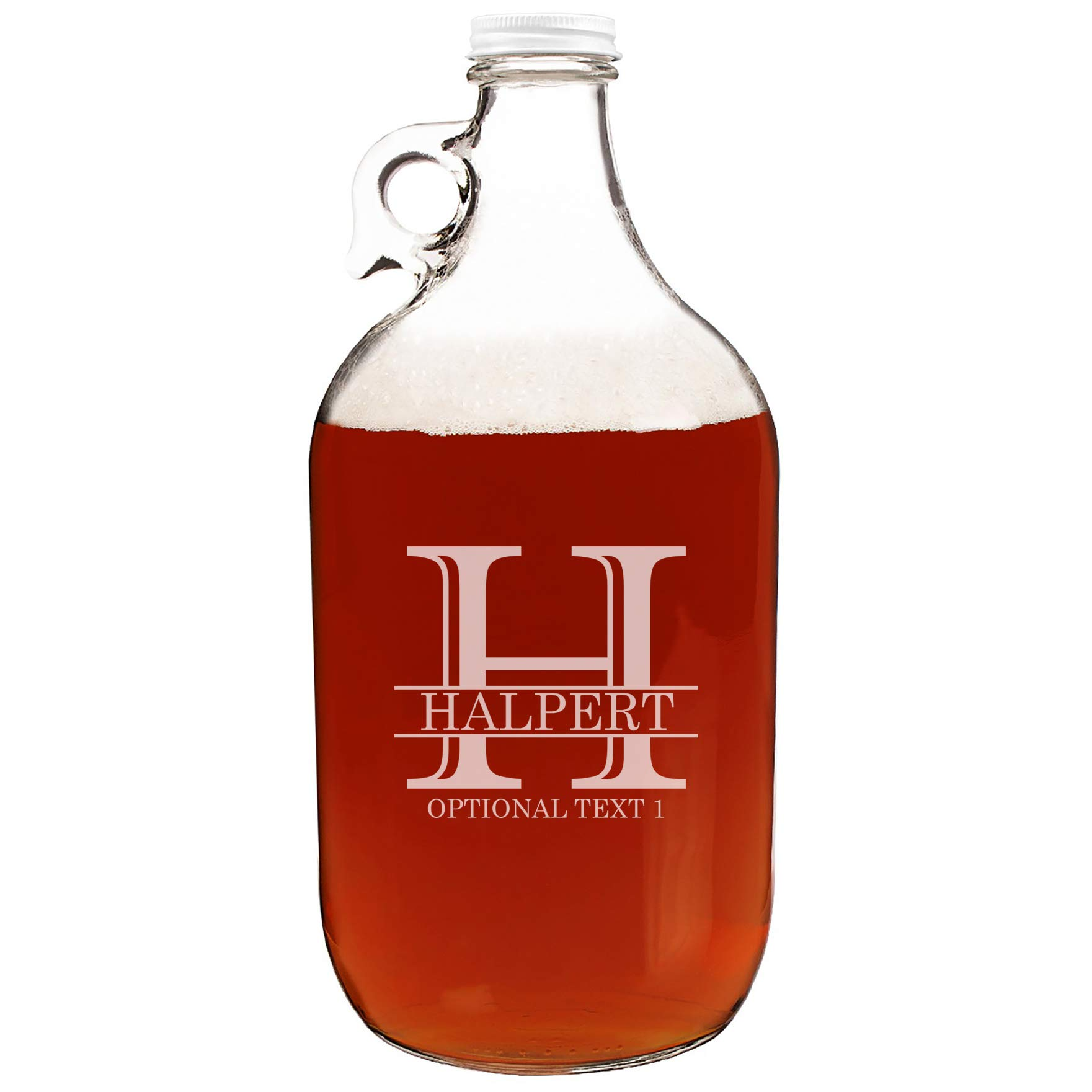Personalized Etched Monogram 64oz Clear Glass Growler Jug
