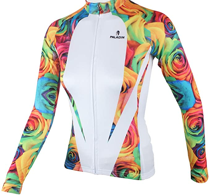17a8e37d3 Amazon.com  QinYing Women Rose Flowers Printing Long Sleeves Bicycle Jersey  XS-XXXL  Clothing