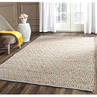 Safavieh Cape Cod Collection CAP821J Hand Woven Geometric Silver and Natural Jute and Cotton Area Rug (6 x 9)