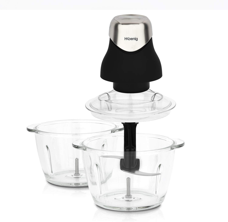 H.Koenig LEO9 - Mini picadora eléctrica de color negro mate cromado, resistente, cuenco de cristal graduado, 1 L, cuchillas de acero inoxidable, fácil de usar, verduras, cebolla, ensalada, pesto persil nueces, carnes