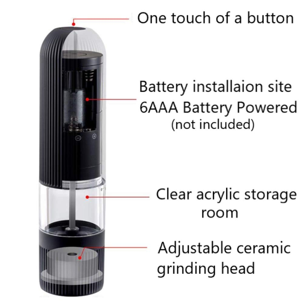 Just Press The Button and it Will Grind for You SOZEAL Electric Slat and Pepper Grinder