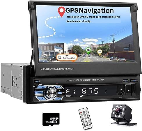 Wireless Remote Control Car Stereo Single din Car Radio 7 HD Player MP5 Touch Screen Digital Display Bluetooth Multimedia USB 1din Autoradio GPS Navigation Radio Player with 8 IR Car Backup Camera