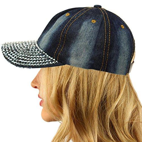 Everyday Plain Blank Bling Rhinestones Visor Baseball Sun Ball Cap Hat Denim