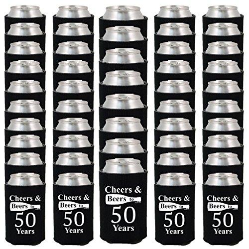 Shop4Ever Cheers & Beers to 50 Years Can Coolie Birthday Drink Coolers Coolies Black - 48 (Cheers Beer)