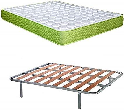 DAGOSTINO HOME BOUTIQUE COLLECTION Pack Fenix 90x190: Conjunto de Colchon Viscoelástico Carbono Eco Friendly, Reversible, de 15 cm de Altura + Somier ...