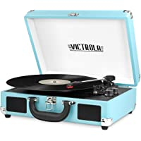 Victrola Vintage 3-Speed Bluetooth Portable Suitcase Record Player with Built-in Speakers | Upgraded Turntable Audio Sound| Includes Extra Stylus | Turquoise