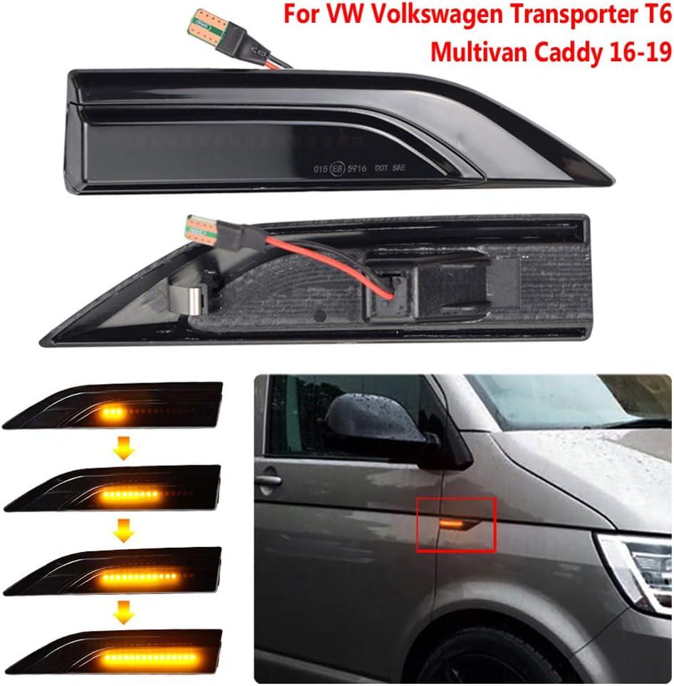pour VW Transporter T6 Caddy Lumi/ères Lat/érales Mod/èles Streamer Fum/é Shell Couverture WPFC LED Dynamique Clignotants Marqueur Lumi/ère Signal Lumineux