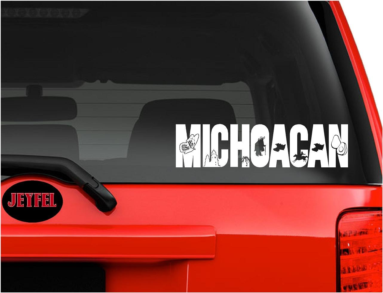 Amazon com jeyfel decals vinyl decal sticker car window wall emblema michoacan méxico sports outdoors