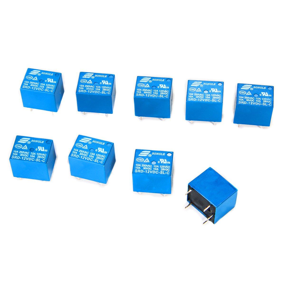 UNIQUE 10 pcs 12V Mini Power é lectromagné tique relais SPDT 10A PCB de montage 5-Pins Electromé nager contrô le BI084 XCSOURCE