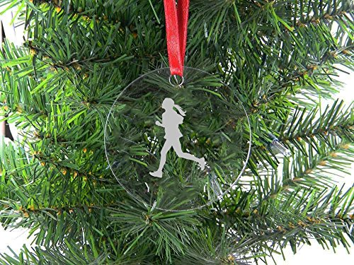 Personalized Custom Female Runner Clear Acrylic Hanging Christmas Tree Ornament with Red Ribbon (Christmas Runner Ornament)