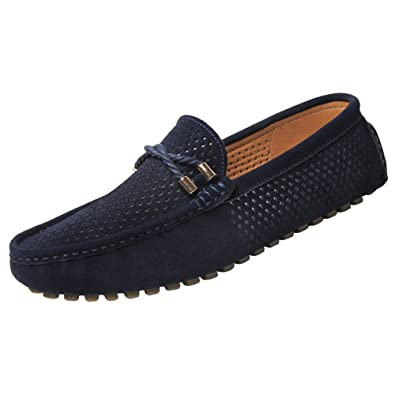 a94c7ddbceb13 JIONS Mens Driving Moccasins Suede Loafers Slip-On Breathable Summer Casual  Boat Shoes Blue 7