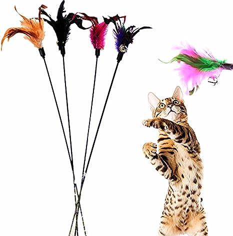 4 Pezzi Colori Casuali Aikesi Giocattoli per Gatto Domestico Gattini Giochi Bacchette con Piume e Primavera e Campane