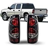 ZMAUTOPARTS Tail Brake Lights Rear Lamps Black For 1999-2006 Chevy Silverado / 1999-2003 GMC Sierra Pickup