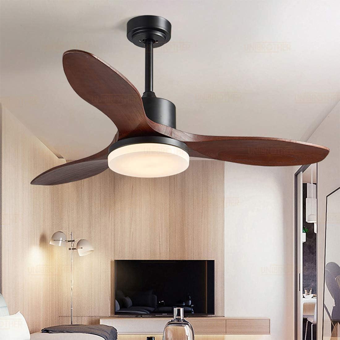 Ventilador de Techo Silencioso con Mando a Distancia, Reversible Ventilador,3* Hoja de Abanico de Madera,LED Luz Variable de 3 Colores Plafón,para Salón Dormitorio Sala de Estar, 122cm
