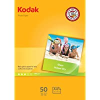 Kodak Photo Paper 180GSM 50 Sheets Kodak Gloss Instant Dry 180gsm A4 Photo Paper, (5740-513)